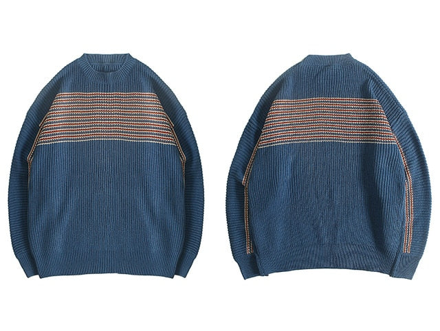 karisland Blue / L Striped Knitted Men's Sweaters - karisland
