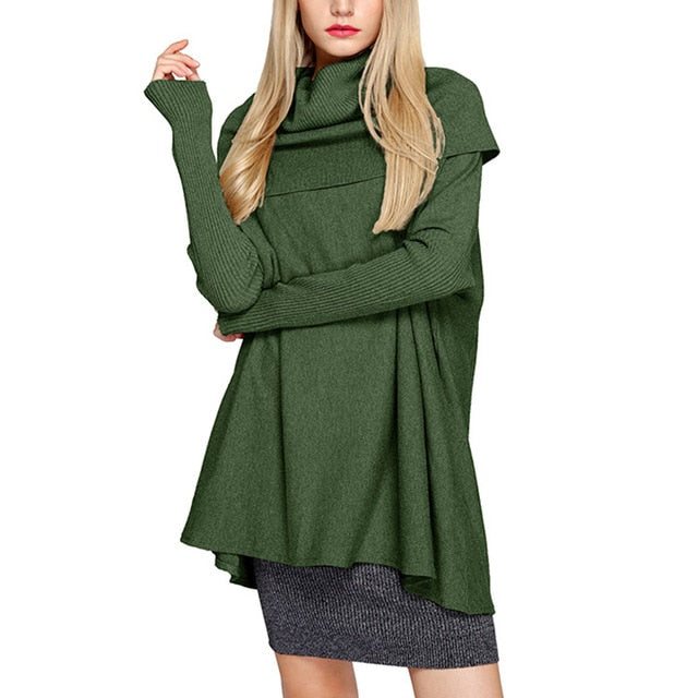 karisland Green / Taille unique Long Sleeve Top Alayna Autumn Solid Collar Sweater - karisland