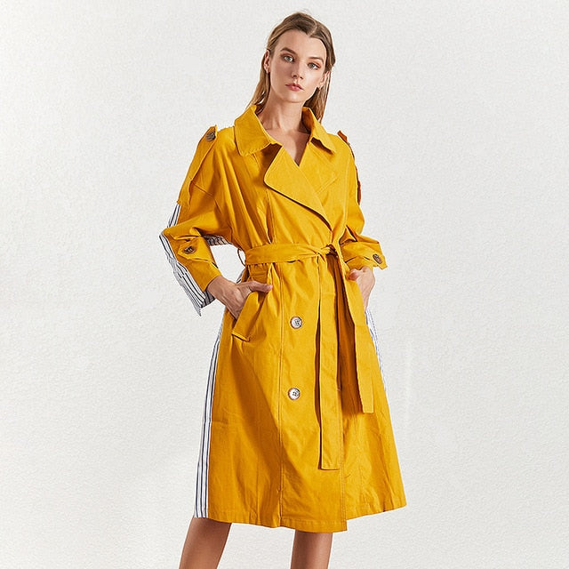 karisland Yellow / M Kali Striped Trench Collar Coat - karisland