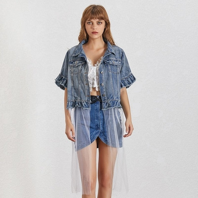 karisland Blue / Taille unique Isabel Short Sleeve Ruffles Jacket - karisland