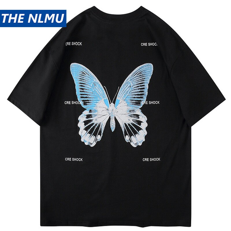 karisland Harajuku Butterfly Print T-Shirts Men Hip Hop Streetwear Tshirts 2020 Summer Fashion Casual Short Sleeve Tops Tees Black WO079 - karisland