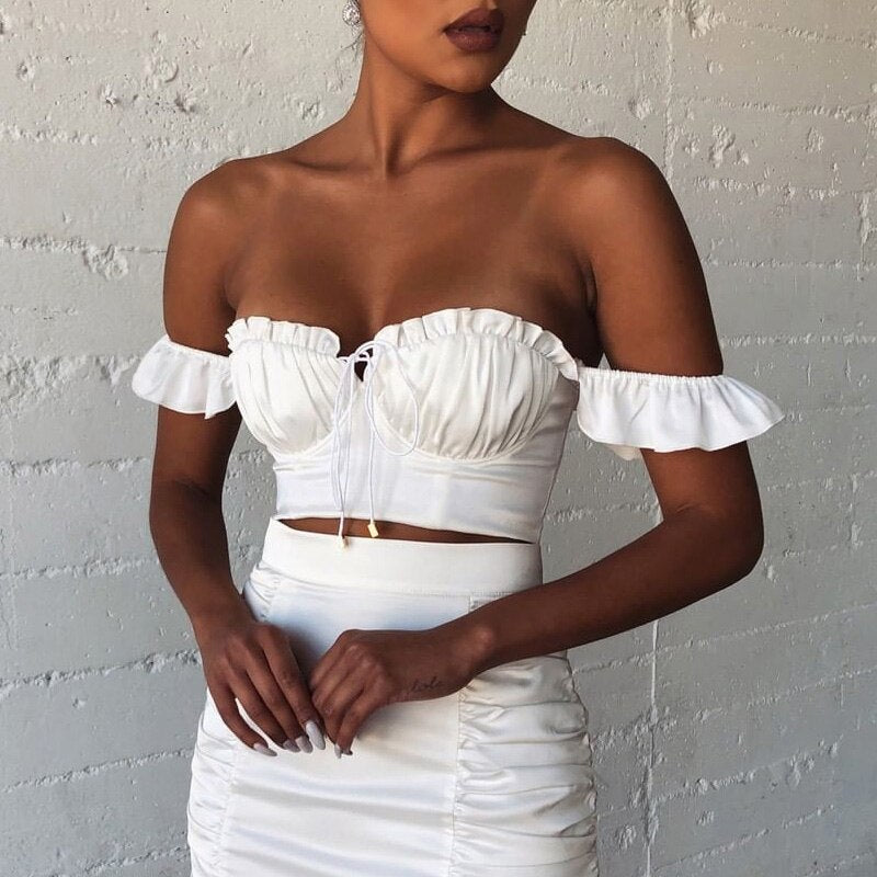 OSLLENLLA  Whited Ruched Camisole Women Sleeveless Ruffle Crop Top 2020 Summer New Ladies Camisole Backless Tank Top Lace Up