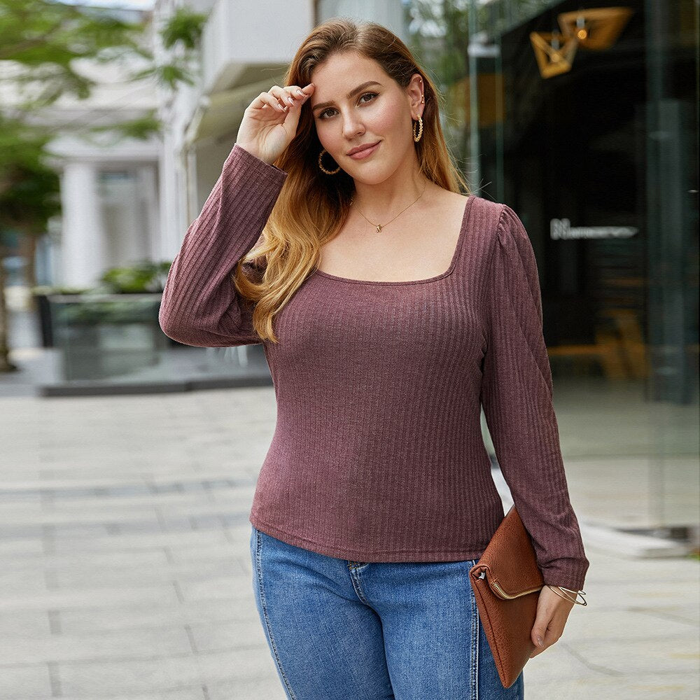 Vintage Square Collar Long Sleeve Knitted T-shirt for Women Autumn 2020 New Plus Size Tops Brief Elegant Tees Solid All Match