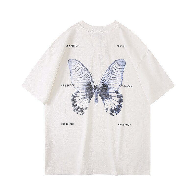 karisland WHITE / M Harajuku Butterfly Print T-Shirts Men Hip Hop Streetwear Tshirts 2020 Summer Fashion Casual Short Sleeve Tops Tees Black WO079 - karisland