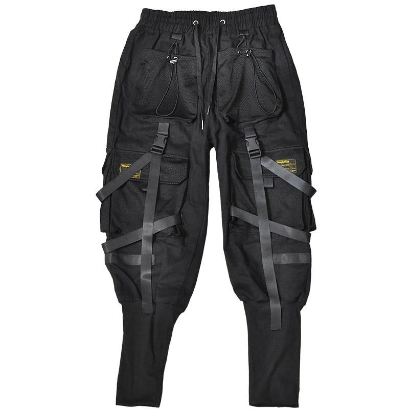 Hip Hop Black Joggers Pants Men Cargo Pants Streetwear Men Pockets Ribbon Harem 2020 Spring Fashion Mens Pant WO100