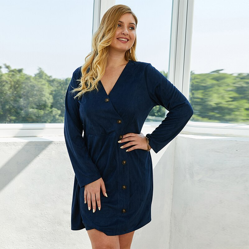 Button Front Plus Size Dress Women Spring V-Neck Long Sleeve A Line Dress Single-Breasted Royal Blue Casual Vacation Dresses