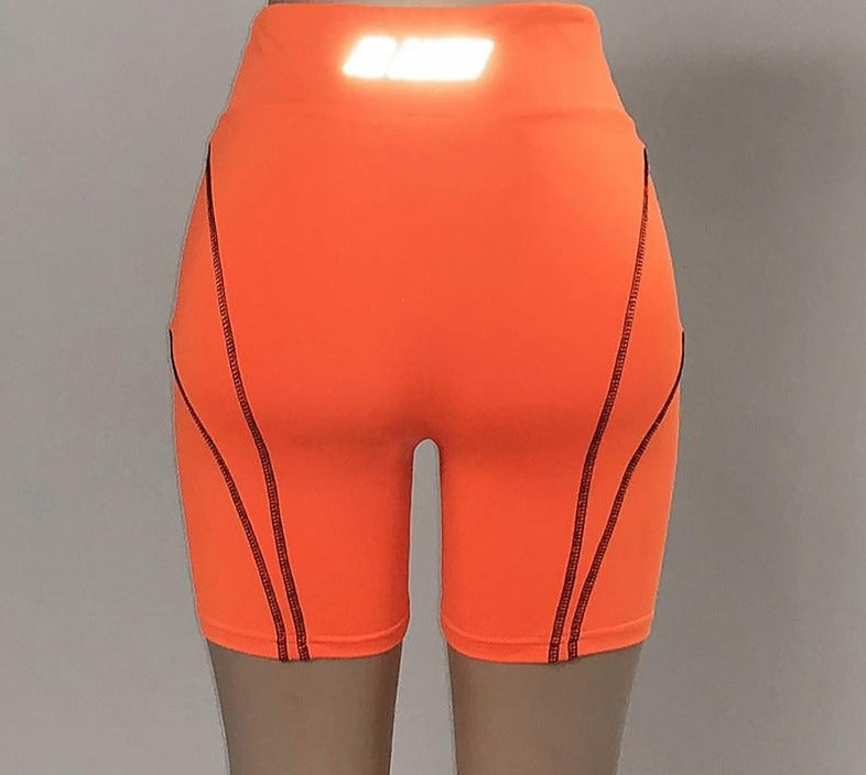Sisterlinda Letter Reflective Stripe Shorts Women Elastic High Waist Skinny Bottoms Cycling Short Leggins Shorts Mujer 2019 Fall