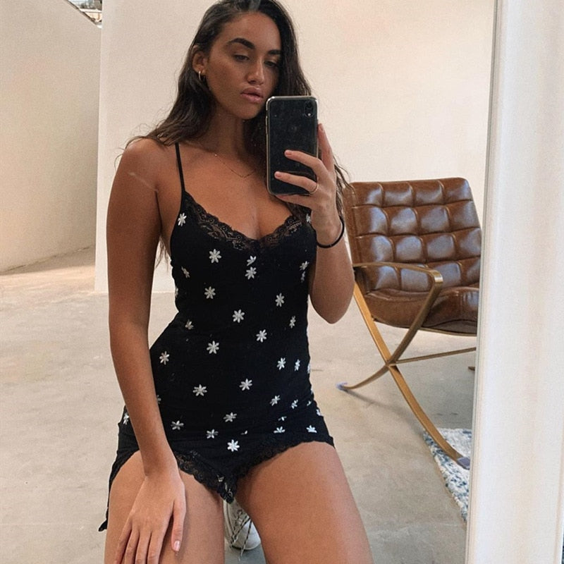 SUCHCUTE floral women dress bow lace sundress with strap E girl style summer 2020 Y2K mini dress female party dresses hem 90s