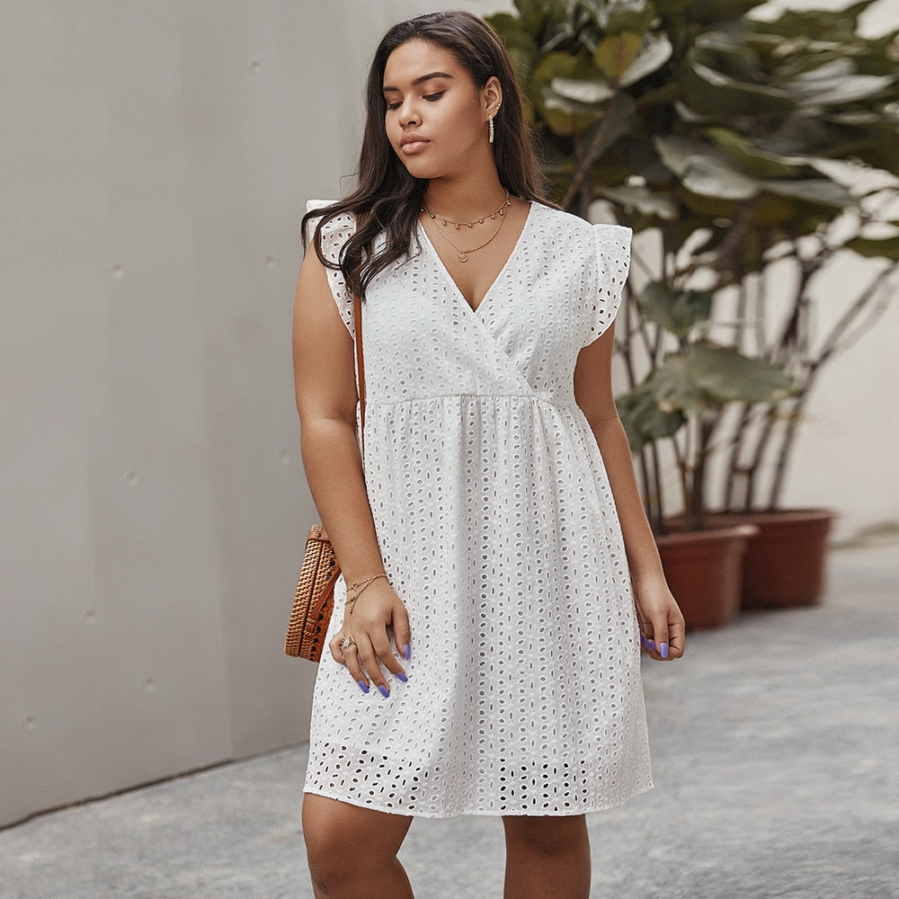 Summer 2020 Plus Size Women Dress Elegant White Cotton Hollow Out Embroidered A Line Dresses V Neck Ruffle Sleeve Brief Casual