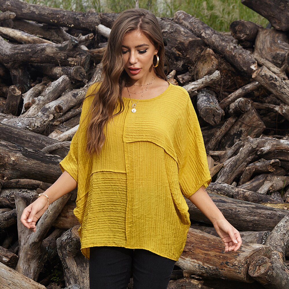 karisland Yellow / One Size Batwing Tops - karisland