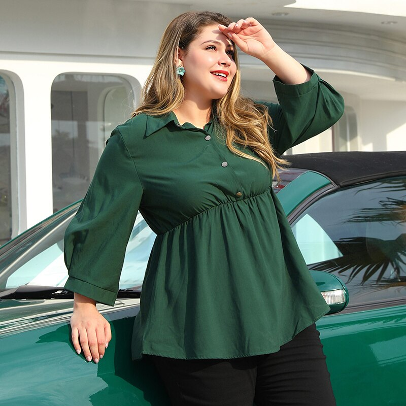 Plus Size Women Shirt Solid Lapel Chest Button Nine Quarter sleeve Fashion Stretch Waist Fit Flare Hem large size shirts Top Red