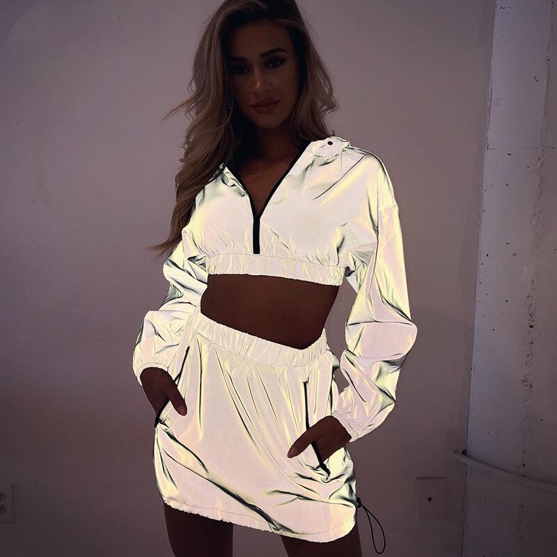 OSLLENLLA Flash Reflective Two Pieces Skirts Set Women Reflective Hoodie Crop Top and Mini Skirt Matching Set Ladies 2PCS Dress