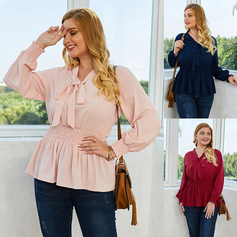 Women Tie Neck Plus Size Blouse Spring 2020 Solid Casual All Match Office Ladies Tops Long Sleeve Elastic High Waist Blouses