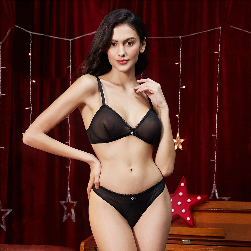 Women Sexy See Through Wire free Bra Set Ladies Lingerie and Thong and panties Set 3Pcs/Lot