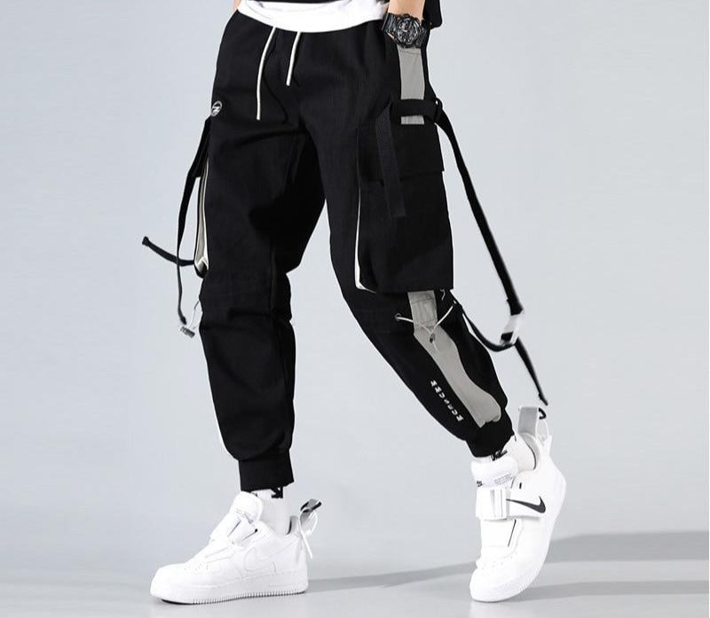 2020 New Fashion Men Joggers Cargo Pant Streetwear Casual Sweatpants Patchwork Pants Hip Hop Ribbon Pocket Male White HT136