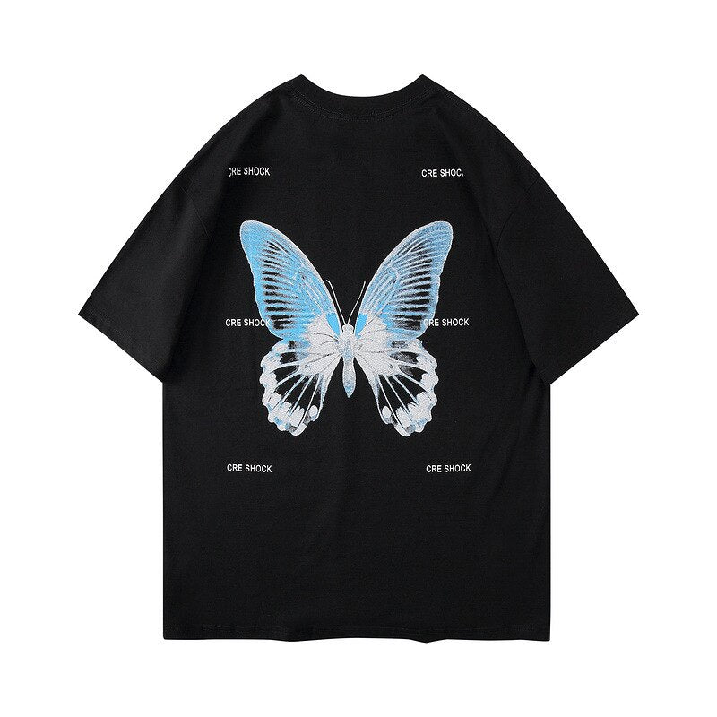 karisland BLACK / M Harajuku Butterfly Print T-Shirts Men Hip Hop Streetwear Tshirts 2020 Summer Fashion Casual Short Sleeve Tops Tees Black WO079 - karisland