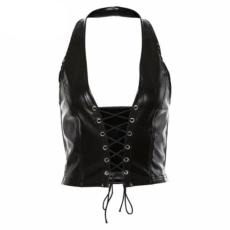 Sisterlinda Solid Sexy Crop Top Tank Women Bandage PU Leather Hollow Out Cropped Vest Mujer 2019 Autumn Off Shoulder Streetwear