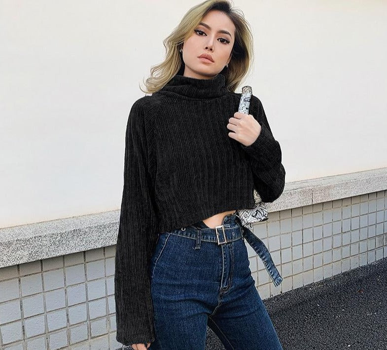 SUCHCUTE winter women turtleneck sweater soild 2019 high neck pullover warm loose streetwear club party wild female tops clothes