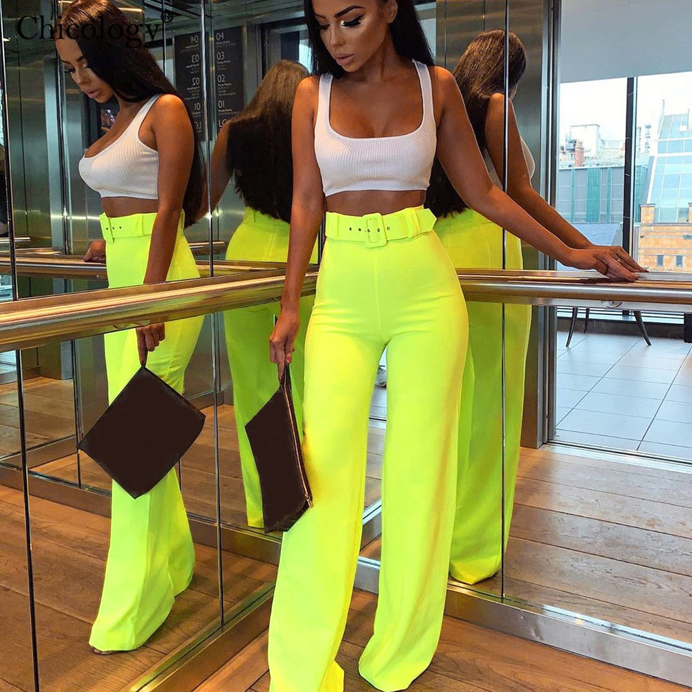 Chicology wide leg belt buckle pants high waist fashion bottom 2019 summer female sexy women streetwear trousers lady clothing