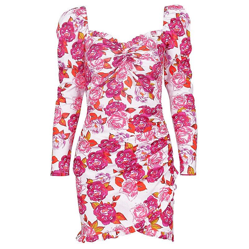 Sweet Pink Flower Printed Bodycon Dress Women Long Sleeve Square Neck Short Mini Dress Frill Bottom Ladies Fashion Flower Dress