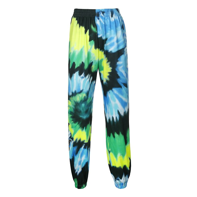 OSLLENLLA Butterfly Printed Blue Joggers Women Hip Hop High Waist Jogger Trousers Ladies Streetwear Sweatpants Loose Fit