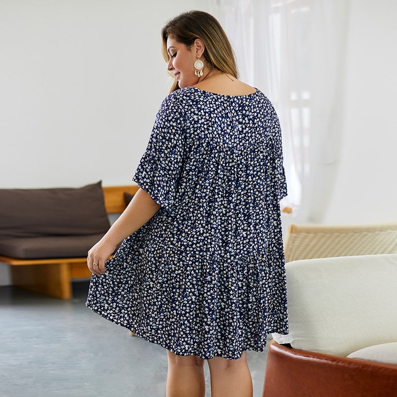 Floral Print Plus Size Summer Dress 2020 Ruffle Half Sleeve O Neck Women Clothes Loose Casual Pleated A Line Mini Dresses 4XL