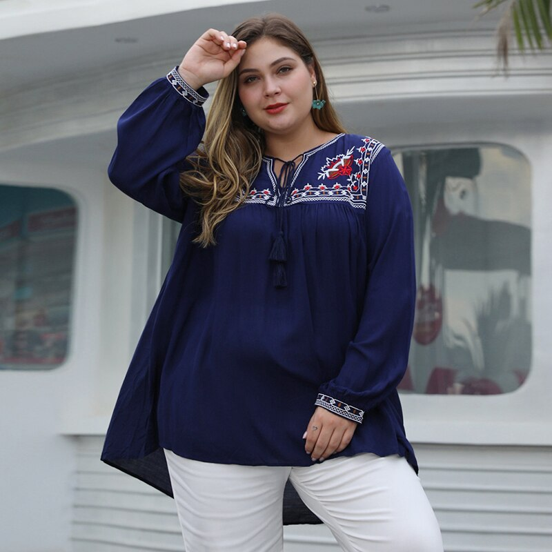 Ethnic embroidery Plus Size Tops Blue long sleeve irregular hem Tassel Lace UP Notched collar loose large size T-shirt for Women