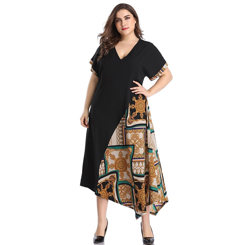 Fashion Ethnic Print Plus Size Women Long Dress Summer 2020 Elegant V Neck Short Sleeve Asymmetry Cut Women's Maxi Dresses 4XL