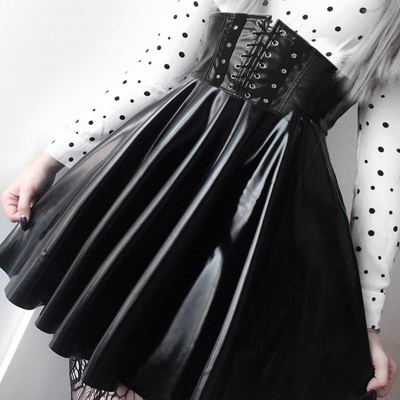 Black Faux Leather Gothic Pleated Mini Skirt