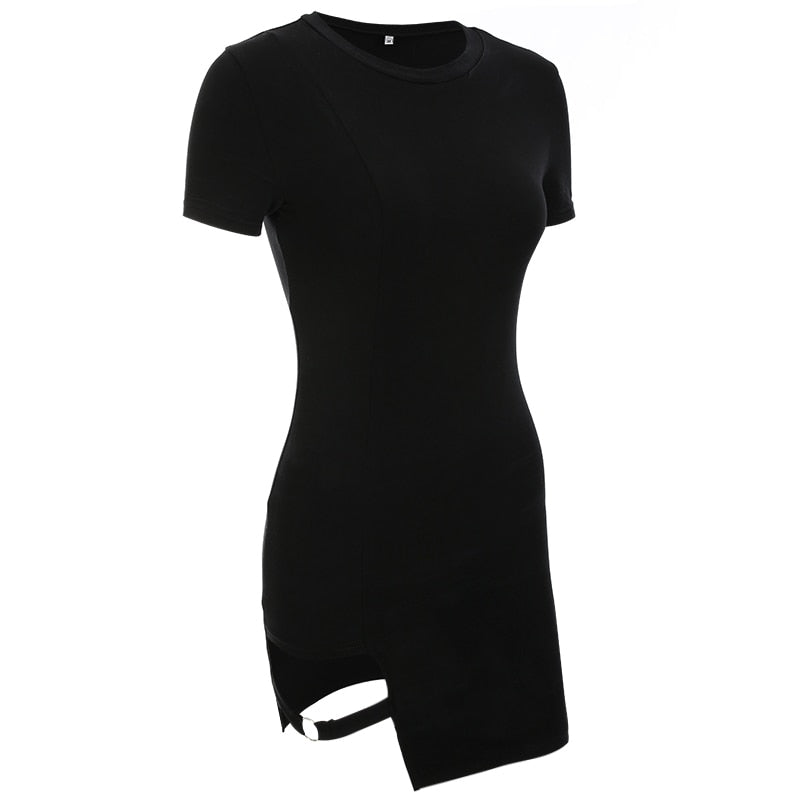 karisland Kimberly Black Summer Split Bodycon Dress - karisland