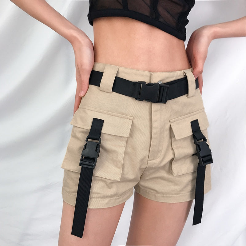 karisland Casual Khaki Black High Waist Harajuku Short Pants - karisland