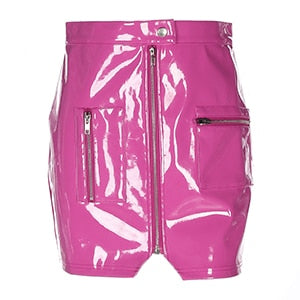 karisland Pink Leather / M Women Faux Leather PU Short Skirt with Zipper Pockets - karisland