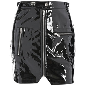 karisland Black Leather / L Women Faux Leather PU Short Skirt with Zipper Pockets - karisland