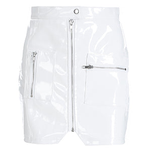 karisland White Leather / S Women Faux Leather PU Short Skirt with Zipper Pockets - karisland