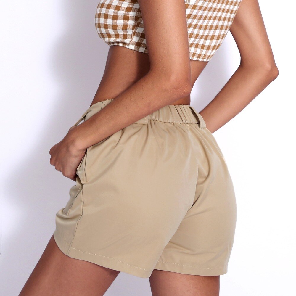 karisland Women Khaki High Waist Pockets Loose Short Pants - karisland