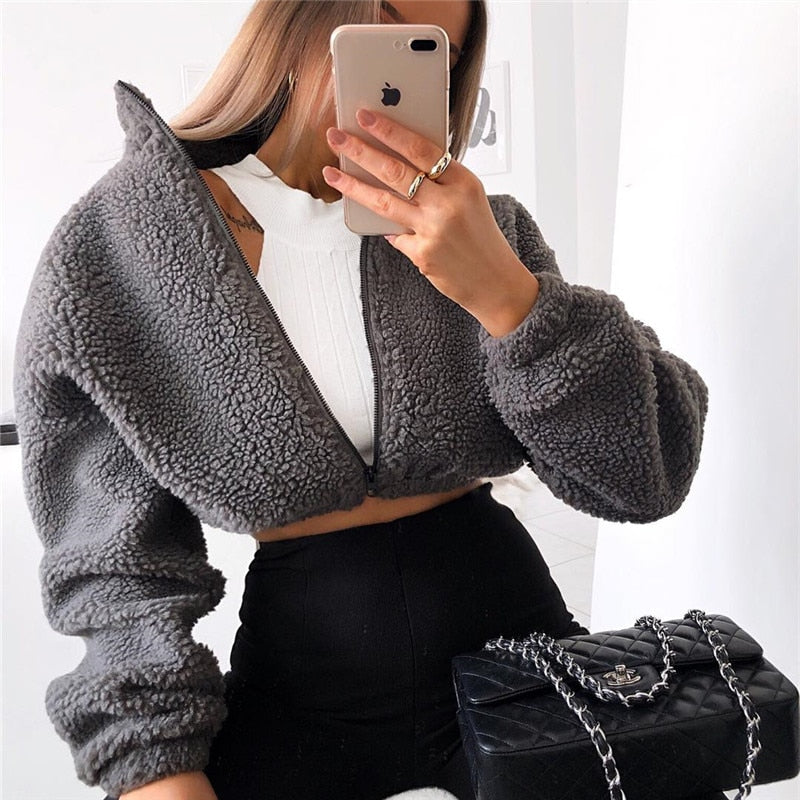 karisland Jacket Acey Lambswool Gray Crop Jacket - karisland