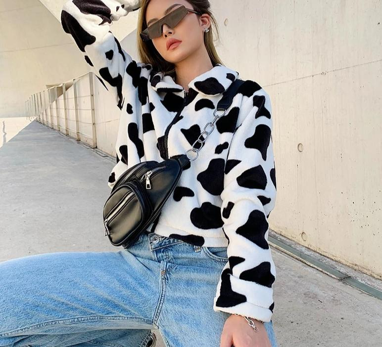 karisland Jacket Margot Cow Print Crop Jacket - karisland