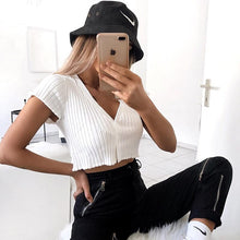 Load image into Gallery viewer, Summer Sexy Knitted T-shirt White Women Low Cut Crop Top Female V-Neck Tshirts with Button Girls Short Sleeve Knit Top