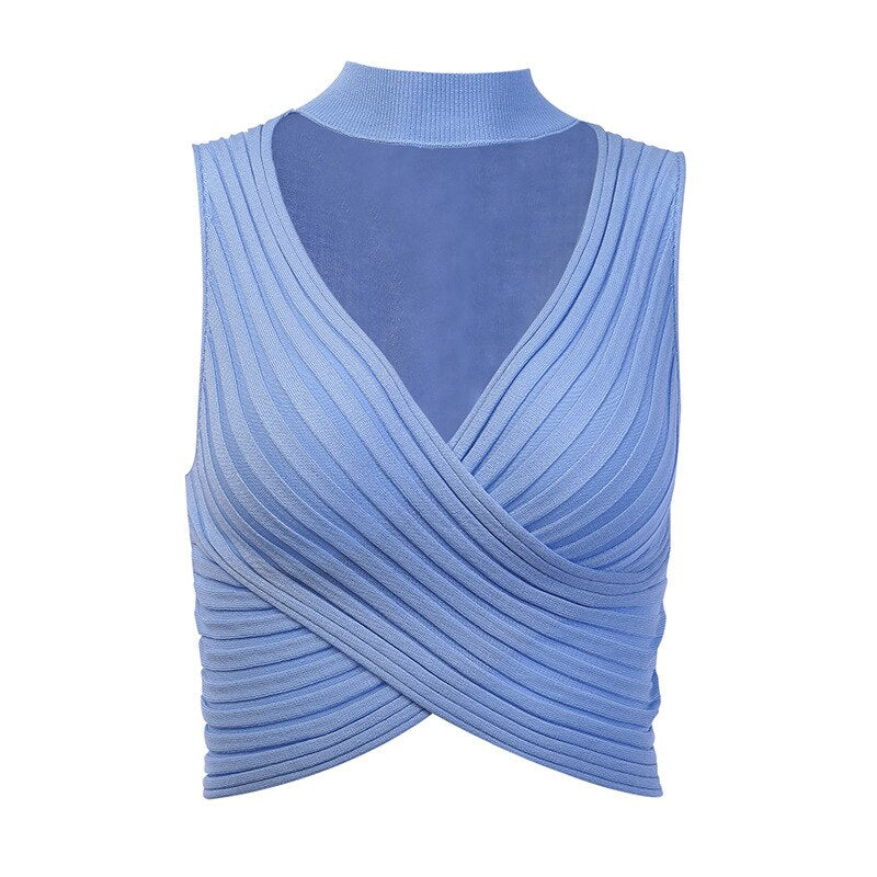 Choker Design Knitted Crop Top Women Sexy Deep V-neck Tanks & Camis Ladies Sleeveless Blue Black Crop Top Mini Knit Top