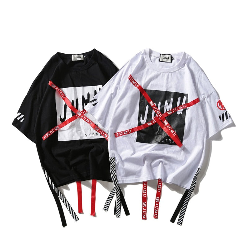 karisland Harajuku Print T-shirts Men Streetwear Hip Hop tshirt Mens O-Neck Ribbon 2019 Summer Spring Casual Tops Tees for Male HA060 - karisland