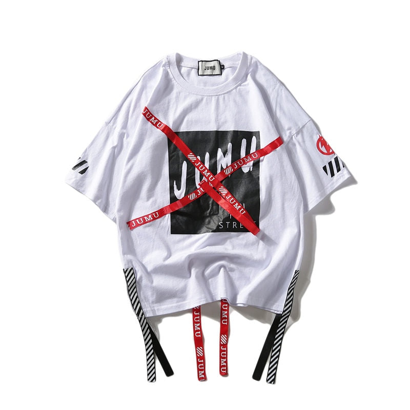 karisland white / M Harajuku Print T-shirts Men Streetwear Hip Hop tshirt Mens O-Neck Ribbon 2019 Summer Spring Casual Tops Tees for Male HA060 - karisland