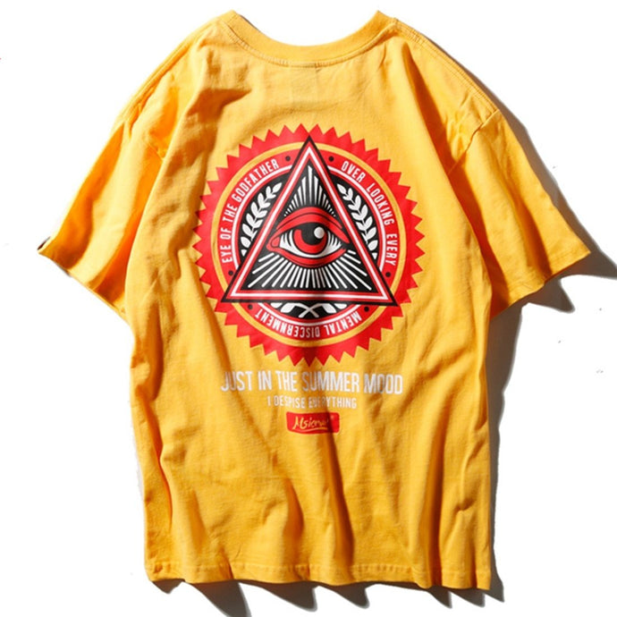 Aelfric Eden Geometry Triangle T Shirts Men Eye of Godfather Print Casual Streetwear Cotton Short Sleeve Hip Hop Tops Tees ROW01