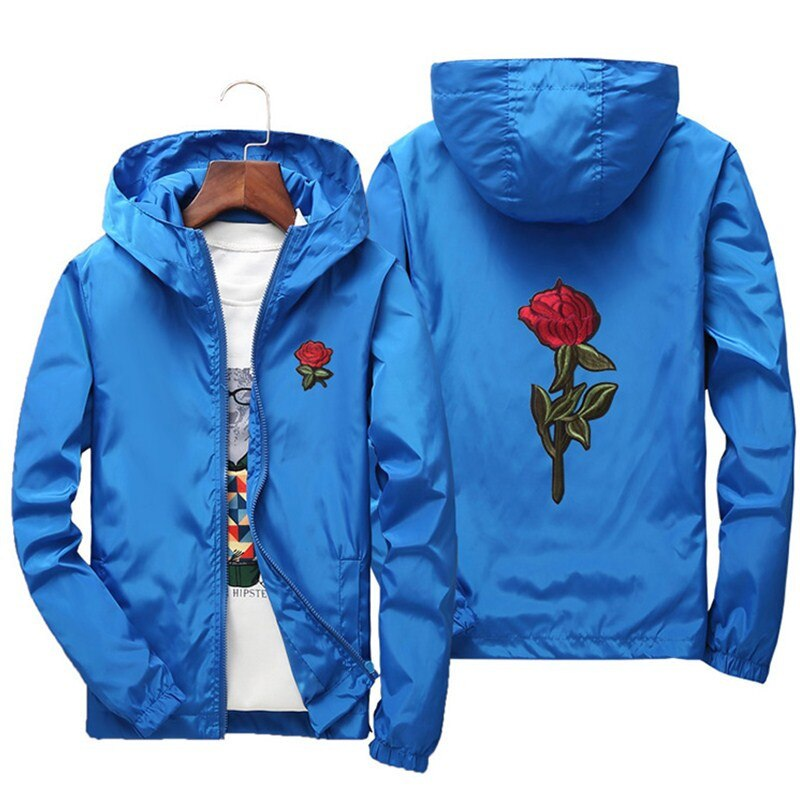 2019 Rose Embroidery Thin Jackets Men Women Streetwear Polyester Jacket Coat Hip Hop Casual Autumn Windproof Plus Size HA70