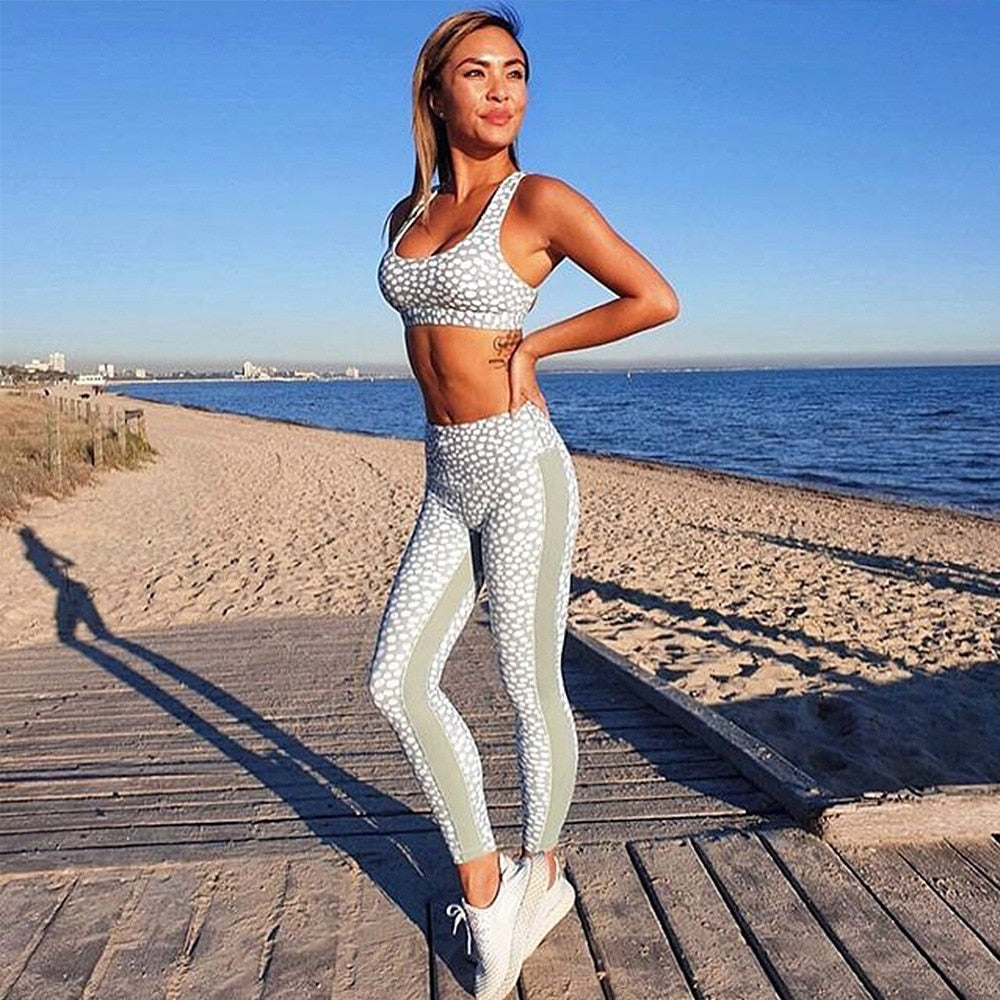 Women Yoga Sets Dotted Tracksuit Sexy Gym Wear Running Clothing Tank Top Leggings Fitness Ensemble Sportswear Sport Suits,ZF277