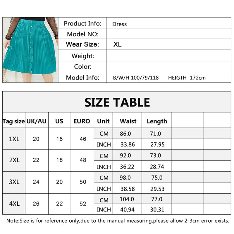 Women Plus Size Pleated Skirt 2020 New Front Button Solid Color Casual Big Size Swing A Line Mid-Calf Skirts Green