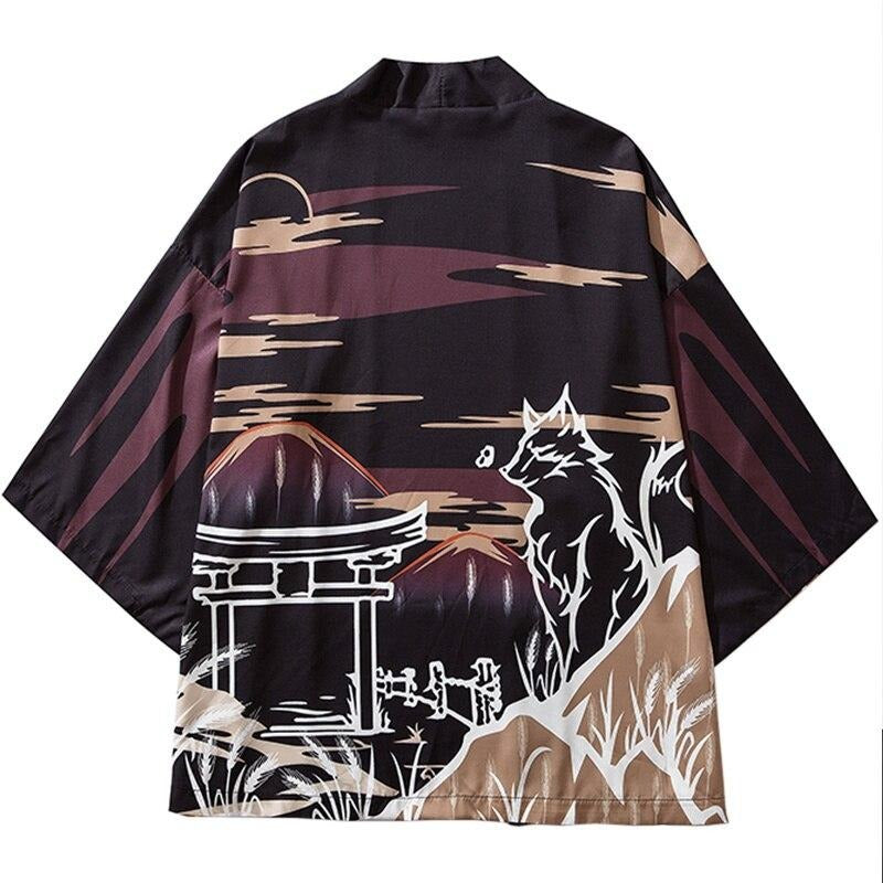 Japanese Style Kimono Jacket Sea Wave Dragon Print Men Harajuku Streetwear Jacket Coat Casual Thin Gown Sweat Wear Japan WO257