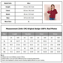 Load image into Gallery viewer, Plus Size Red Polka Dot Blouses Women Short Ruffled Sleeves V Neck Woman Tops Vintage Ruffles Trim Casual Big Size Blouse 2020