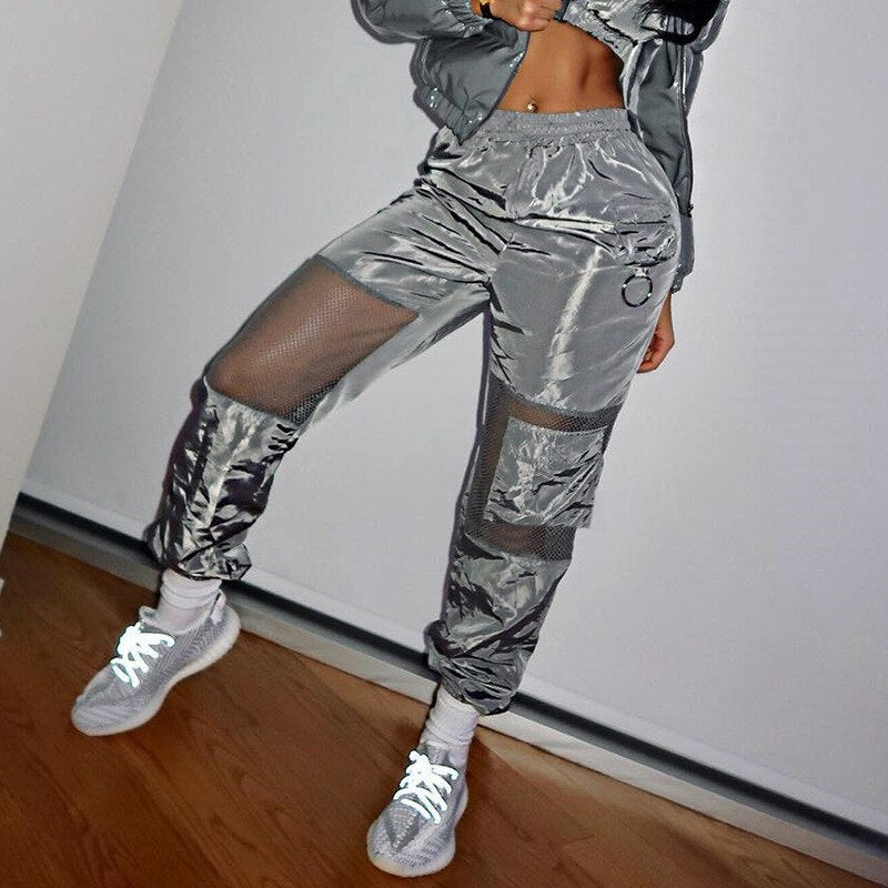 OSLLENLLA  Patchwork Mesh Pants Women Harajuku Baggy Sweatpants Joggers High Waist Trousers Ladies Harajuku Streetwear Summer