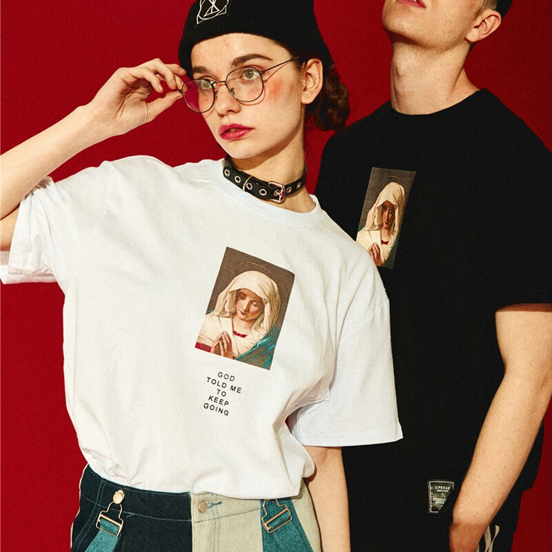 karisland Summer T-shirts Men Streetwear Harajuku Tshirt Madonna Print Fashion Tops Tees Male Shorts Sleeve Cotton HH108 - karisland