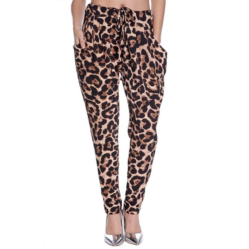 Women's Harem Pants Leopard Printed Fitted Pants loose Plus Size Casual Brown Leopard Trousers Lace up Waist Spring Summer 2020
